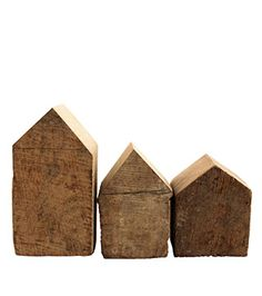 Wooden Houses (set of 3) by Samina Langholz (Andrea Brugi). Made by hand from oak rafters from an old Tuscan church.