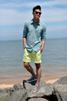 Outfit: Mens Printed Chambray Shirt  Shorts Mellow Yellow - See the full post HERE FACEBOOK | TWITTER | BLOGLOVIN | PINTEREST | INSTAGRAM