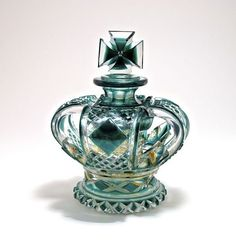 Lot: 1900s Bohemian perfume bottle and stopper, cased green , Lot Number: 0043, Starting Bid: $1,000, Auctioneer: Perfume Bottles Auction, Auction: Perfume Bottles Auction, Date: May 3rd, 2013 EDT