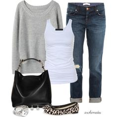 Casual Outfit. Really like those shoes...not the bag tho