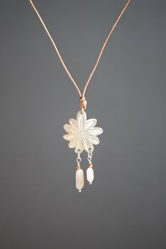 Flower Pendant On Leather String