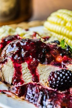 Blackberry Balsamic Glazed Chicken from The Food Charlatan
