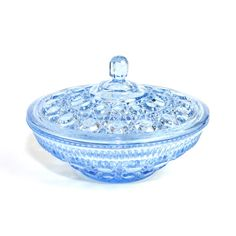 This beautiful ice blue glass dish comes from the Windsor Royal Brighton collection by Indiana Glass Company, circa 1980's. It features this prettiest shade of pale primary blue, with so much diamond cut style that it sparkles! Perfect for vintage home kitchen decor or use - ideal as a candy dish!