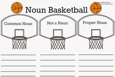 Common Noun vs. Proper Noun Basketball {Free Printable}
