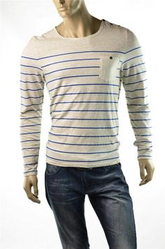 Buffalo T-shirt David Bitton Arvin Tee Shirts Crew Stripe L/S T Shirt Sz M NWT