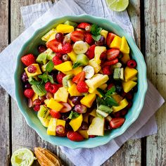 This fruit salad recipe is packed with juicy, ripe and colorful fruit dressed in a zingy lime-mint dressing and makes the perfect easy, healthy breakfast.