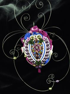 Polymer clay Soutache on eggshell...by Laura J Schiller