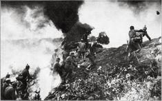 German shock troops and a flamethrower team assault Mort-Homme hill at Verdun, March 6, 1916.