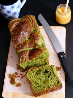 Matcha danish loaf and croissants
