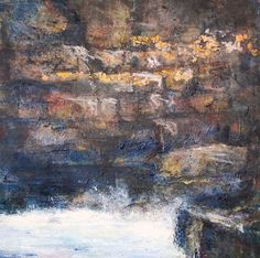 Canvas Painting Etched Rocks  Whites brown rust  by HelenKilsby, $550.00