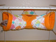 "3-way Tube Hammock ""Argyle Print with Orange Fleece Lining"" Rat, Ferret, Sugar Glider. $12.49, via Etsy."