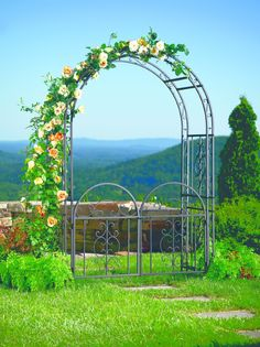 Amazon.com : Plow and Hearth Montebello Garden Arbor Trellis with Gate, Tubular Iron, Burnished Bronze Finish, 54 in W x 23 in D x 84 in H : Arbor And Gate : Patio, Lawn & Garden