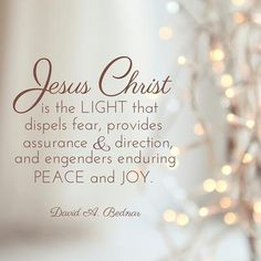 Jesus Christ is the Light that dispels fear, provides assurance, and direction, and engenders enduring peace and joy 'A time for remembering the Son of God': 26 Christmas quotes from LDS leaders Religious Quotes, Spiritual Quotes, Spiritual Thoughts, Church Quotes, After Life, Son Of God, Inspirational Thoughts, Inspirational Christmas Quotes, Uplifting Thoughts