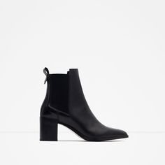 BLOCK HEEL LEATHER ANKLE BOOTS WITH STRETCH DETAIL-KEY PIECES | WOMAN / TRF-EDITORIALS | ZARA United States