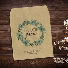 This listing is for 25 x empty personalised wedding seed packets.  Rustic eco-friendly seed packets with self sealing tops and customised with your