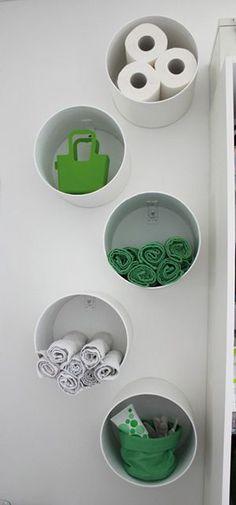 PVC pipe for hanging racks. 53 Seriously Life-Changing Clothing Organization Tips Organisation Hacks, Bathroom Organization, Storage Organization, Clothing Organization, Bathroom Storage, Rv Bathroom, Bathroom Shelves, Bathroom Ideas, Organizing Tips