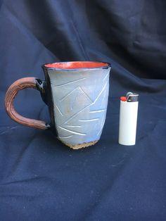Pale Blue Hand Carved Mug