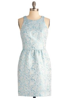 Light of the Party Dress - Mid-length, Blue, White, Floral, Formal, Sheath / Shift, Party, Racerback