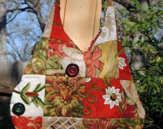 Bohemian Pieced Crewel Embroidery Bag with Vintage Buttons - Sling Bag in Reds and Brown and Green - Edit Listing - Etsy
