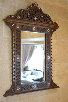Mirror - Wall mirror - Moroccan mirror - Luxurious handmade mirror - Syrian style mirror - mother of pearl inlaid - wooden mirror - decor Arabian Decor, Moroccan Mirror, Handmade Mirrors, Pooja Room Design, Pooja Rooms, Wooden Hand, Through The Looking Glass, Home Decor Furniture, Wood Design