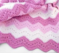 Items similar to Crochet chevron Baby Blanket in two shades of rose color and white / stroller size blanket for girls on Etsy Crochet Ripple Blanket, Baby Girl Crochet Blanket, Chevron Baby Blankets, Crochet Baby Hat Patterns, Crochet Baby Hats, Baby Patterns, Crochet Blankets, Pink Soft, Crocheting