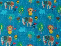 Tissus éléphants, Eléphants et Lions sur fond bleu pétrole est une création orginale de Route-des-tissus sur DaWanda