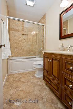 the one week bath team remodeled this space into a traditional bathroom in neutral tones