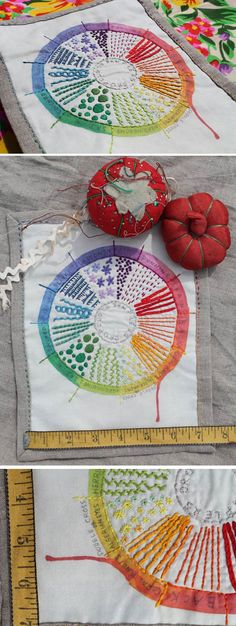 Color wheel embroidery sampler by Dropcloth Samplers