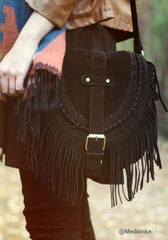 Black Foldover Tassel Shoulder - Foldover Flap Bag