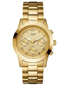 GUESS Watch, Women's Chronograph Gold-Tone Stainless Steel Bracelet 39mm U13578L1 - Women's Watches - Jewelry & Watches - Macy's