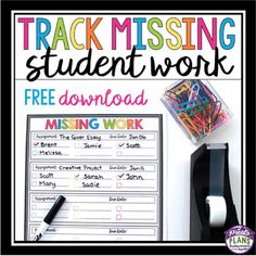 FREE Missing student work form. Keep track of which students have not submitted owed work to you.  Simply print the form, laminate it, attach to your desk, and use dry erase markers to  use the form over and over again.