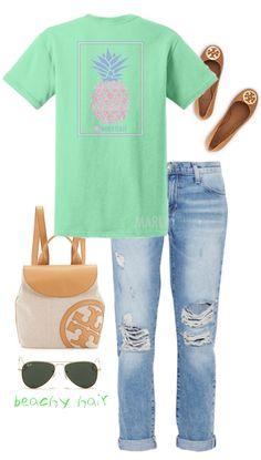 Monogrammed Seersucker Pineapple T-Shirt #casual #ootd