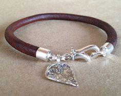 Leather Bracelet with silver artisan heart  - Art with Heart: Sterling silver and Leather