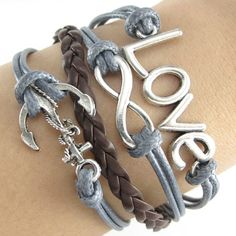 Silver Infinity Anchor Cross LOVE Charms Leather Wrap European Bracelet NEW