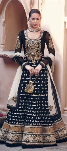 Black, grey and gold anarkali suit