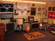 Fender Guitar room music-theme-room-ideas