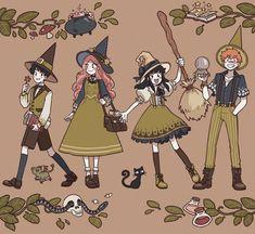 Fantasy Character Design, Character Design Inspiration, Character Art, Witch Characters, Fantasy Characters, Pretty Art, Cute Art, Witch Drawing, Desenhos Harry Potter