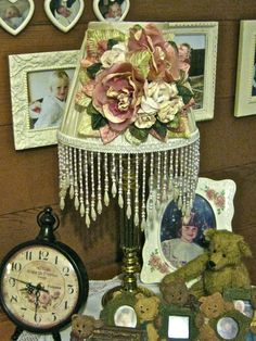 Rose Lampshade with Beaded Fringing