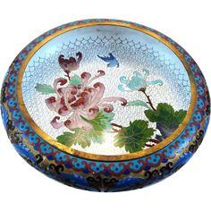 Chinese Cloisonne & Champleve Enamel Low Bowl on Wood Stand