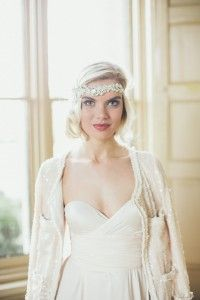 Beautiful Art Deco bridal accessories and headpieces by Gibson Bespoke with an Old Hollywood Glamour feel. Plus a gold sequin wedding dress.