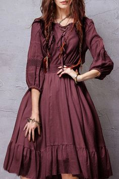 Burgundy, Crochet Spliced, flare Dress.
