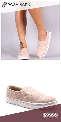 COMING MID-MAY💕 Blush Slip on Sneakers These stylish slip on sneakers are a must have. The hottest color of the season and has a subtle snakeskin look. Limited sizes. Pre-order and save 10%. Price is $38. Shoes Sneakers