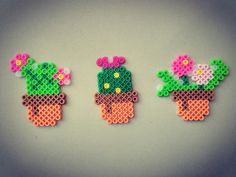 Succulent Actually I really want a real one succulent but right now I don't have it so I make it like this Perler Beads, Perler Bead Art, Fuse Beads, Easy Perler Bead Patterns, Diy Crafts Hacks, Beading Patterns, Quilling, Diy Gifts, Arts And Crafts