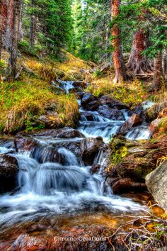 Colorado waterfall - HDR processed - DIGITAL IMAGE by ChromoCreations on Etsy
