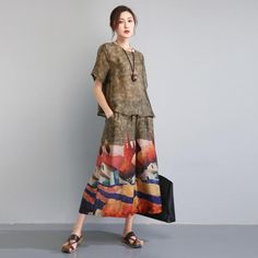 Buy Retro Style Silky Elegant Woman Suits Plus Size Printed Sets in Two-piece Outfits online shop, Morimiss offers Two-piece Outfits to make you feel comfortable Retro Fashion, Womens Fashion, Painted Clothes, Altering Clothes, Couture, Two Piece Outfit, Elegant Woman, Retro Style, My Style