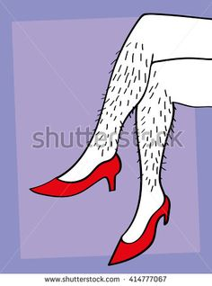 A pair of male or female hairy legs crossed and wearing red high heels