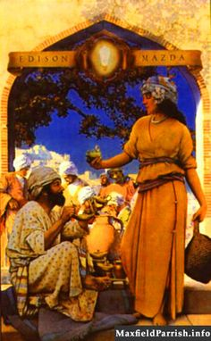 """""""The Lamp Seller of Bagdad"""" Maxfield Parrish 1923 Nc Wyeth, Maxfield Parrish, Luminous Colours, Online Gallery, Antique Art, American Artists, Beautiful Paintings, Illustration Art, Art Illustrations"""