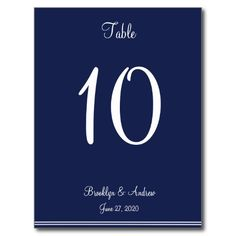 Blue Nautical Wedding Table Numbers Postcards