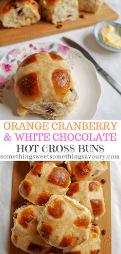 Orange, Cranberry and White Chocolate Hot Cross Buns - fluffy, soft and delicious spread with butter and raspberry jam! Easter Snacks, Easter Recipes, Easter Treats, Chocolate Hot Cross Buns, White Chocolate, Baking Recipes, Bread Recipes, Muffin Recipes, Dessert Recipes