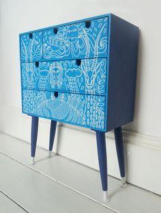 Cassetti upcycled Aqua Blu marino animale con di HandsomeVintage